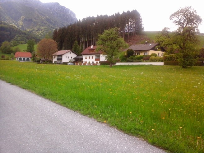 Micheldorf Ortsende mit Bergblick